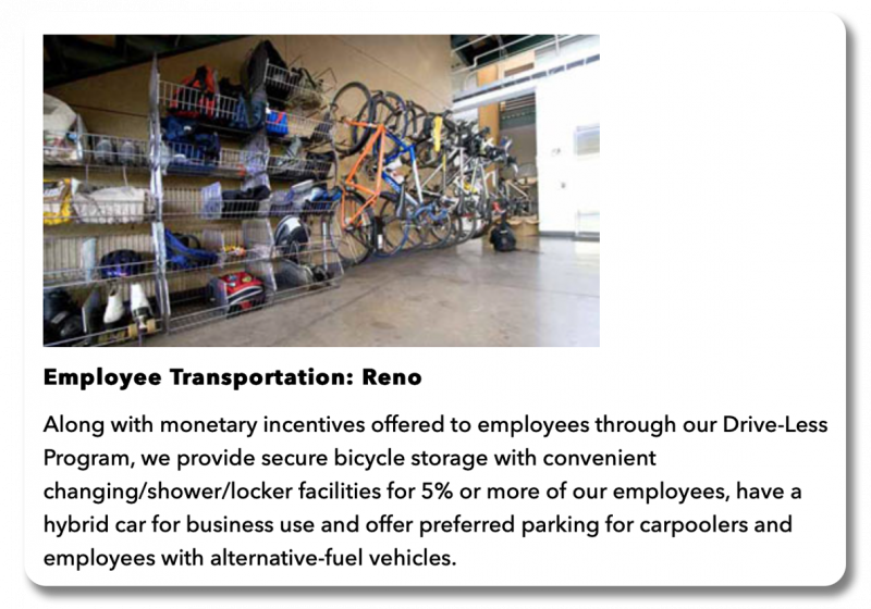 Example About page: Section of Patagonia's about page dedicated to employees riding their bikes to work