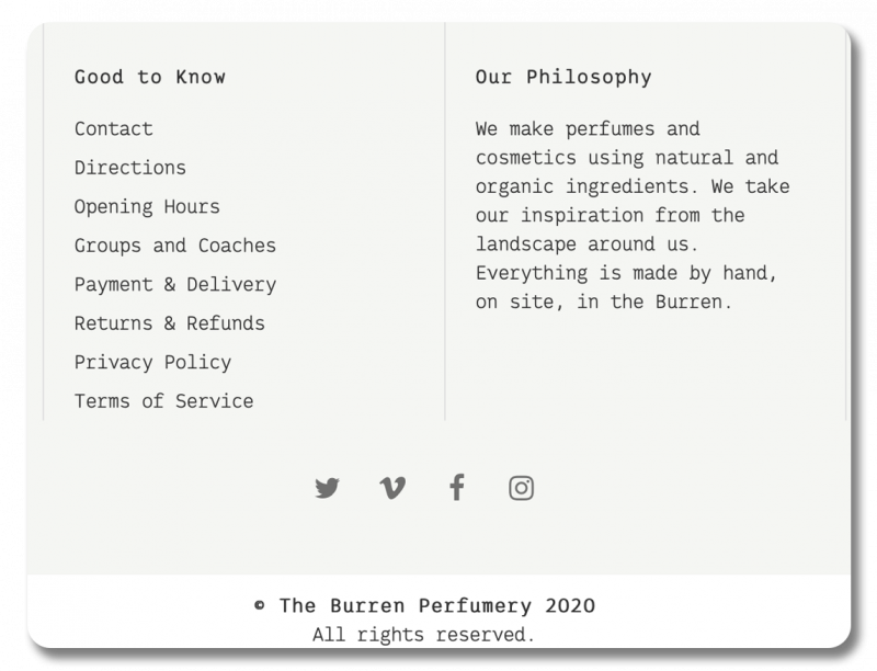 Screenshot of the footer of Burren Perfurmery's site, which has an 'our philosophy' section