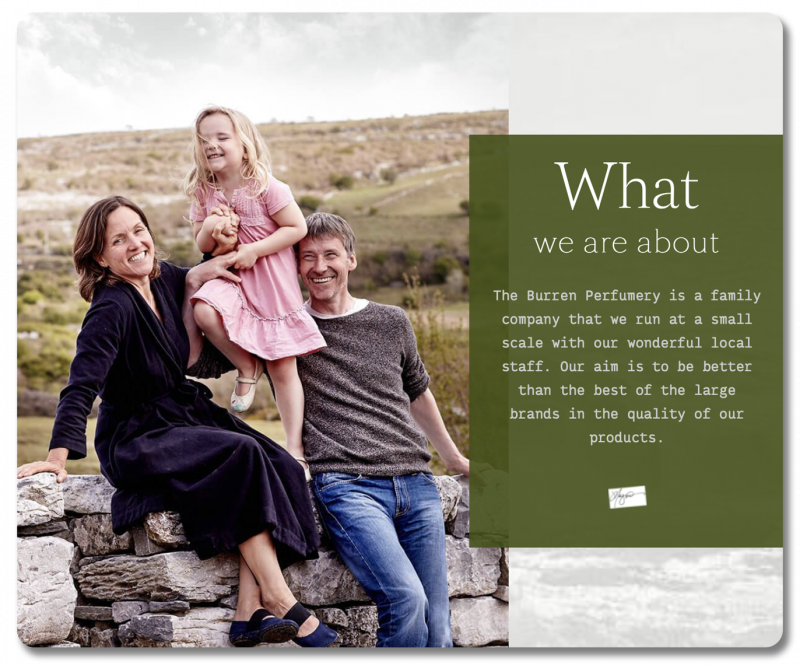 Example About page: Burren Perfumery's 'what we are about' section