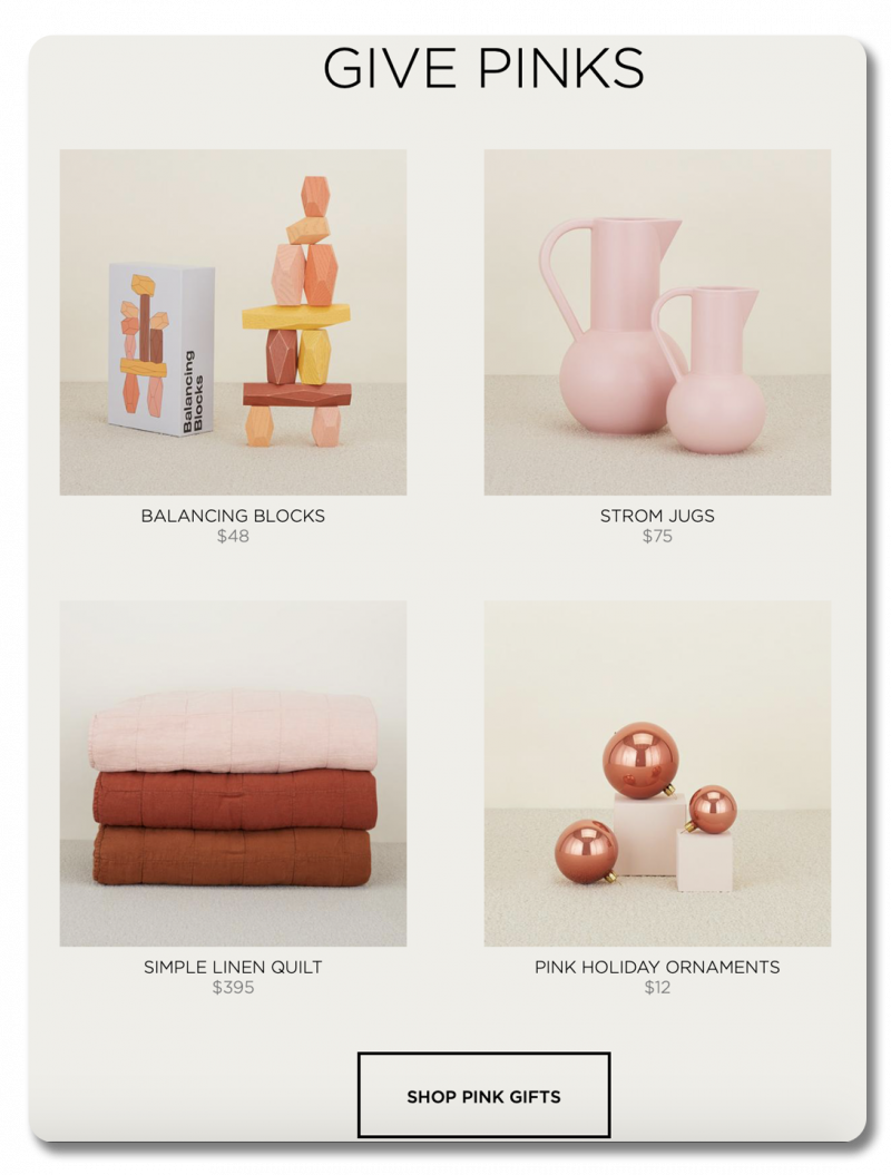 """Give Pinks"" section of Hawkins New York site"