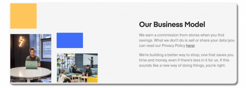 Example about page: Honey's page, clearly describing their business model