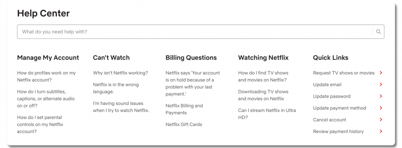 Screenshot of Netflix's FAQ page