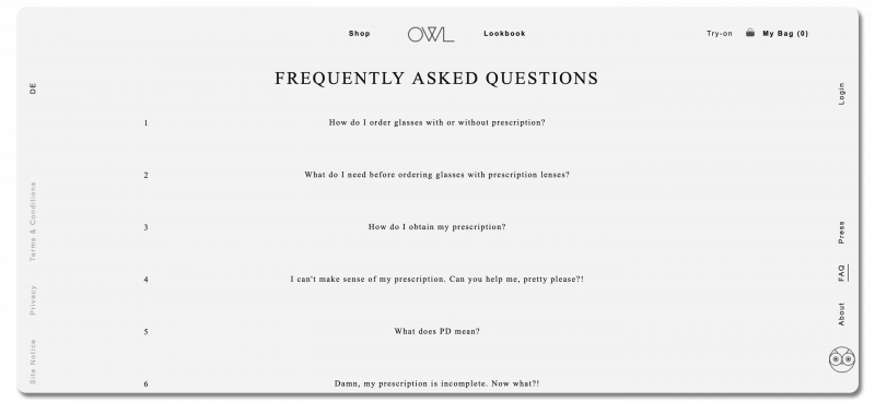 Example FAQ page, showing a list of questions