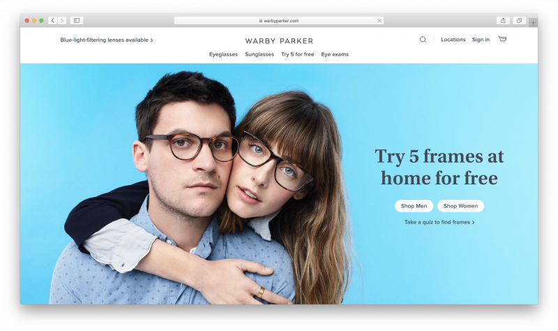 Screenshot of the Warby Parker site