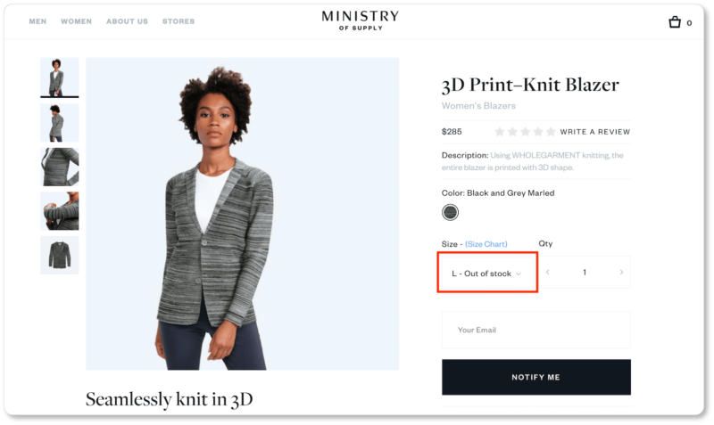 "25c4392324e1 Ministry of Supply uses a simple ""Notify me"" button when a particular size  is out of stock. (Though if this site design were up to us, that  subscription box ..."