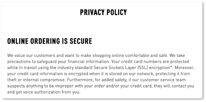Bridge and Burn ecommerce privacy policy