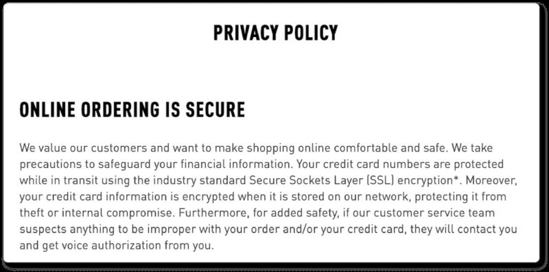 Bridge and Burn ecommerce privacy policy