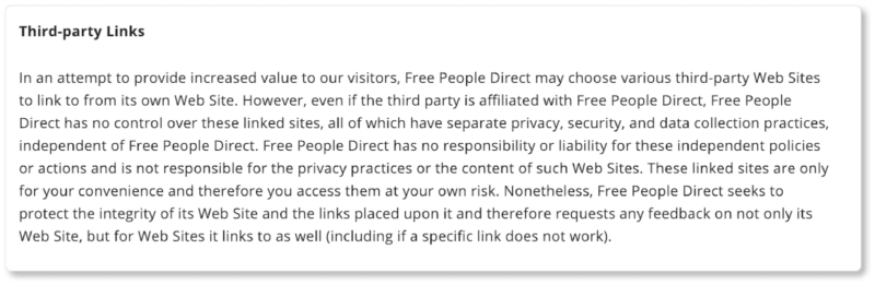 Free People terms of service