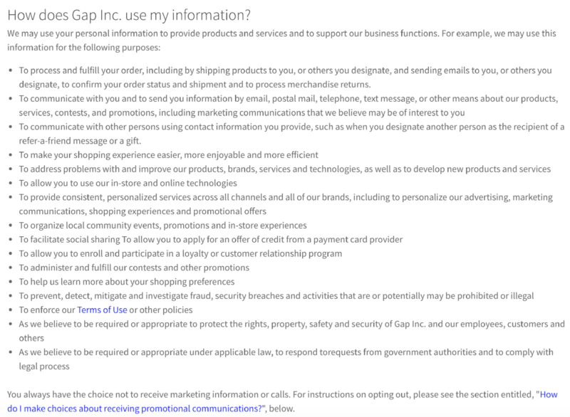 Gap privacy policy data collection