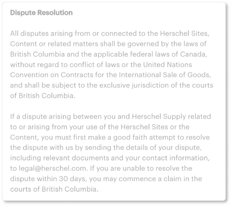 Herschel Terms & conditions dispute resolution