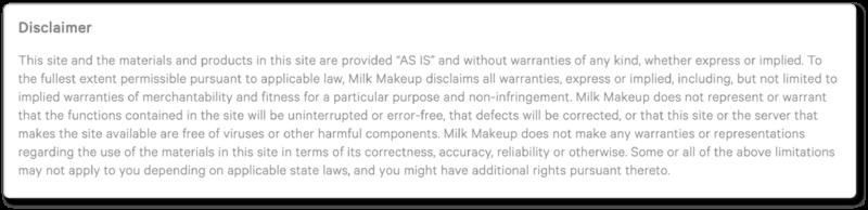 Milk Terms & Conditions warranties