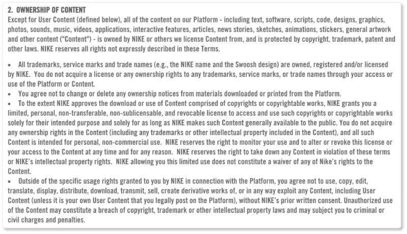 Nike Terms & Conditions