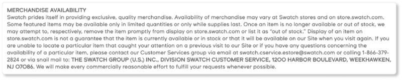 Swatch Terms & Conditions