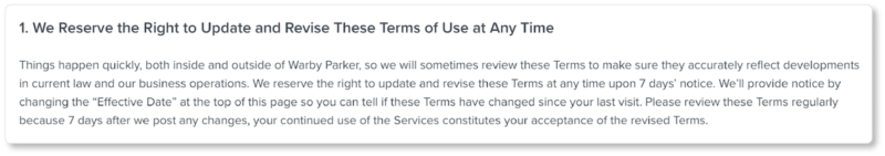 Warby Parker Terms & Conditions