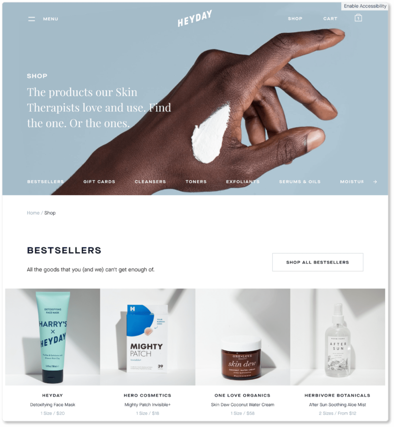 Example of ecommerce landing page with bestselling products at top