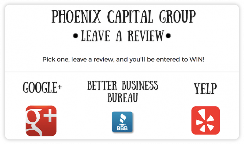 Phoenix Capital Group's offer to customers for leaving a review