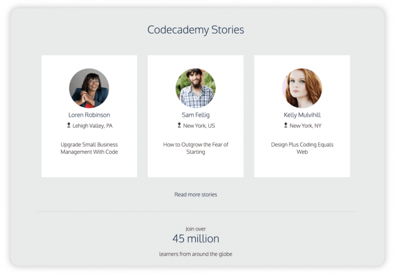 A screenshot from Codecademy's website showing 3 users' pictures along with their names, and titles of their stories.