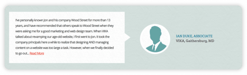 Example of a testimonial from Wood Street's website