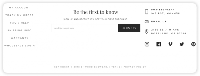 Shwood Eyewear's header, which includes contact info, social media links, navigation links, and an email signup