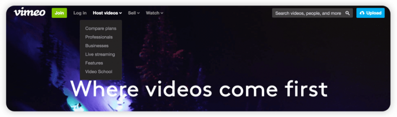 "A screenshot from Vimeo's website showing a dropdown menu under ""host videos"" with a downward arrow."