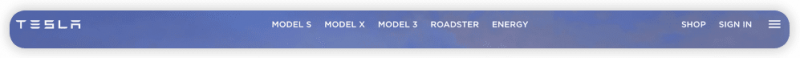 A navigation bar from Tesla's website, listing: Model S, Model X, Model 3, Roadster, and Energy