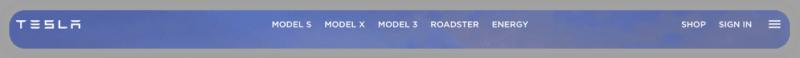 A navigation bar from Tesla's website, listing: Model S, Model X, Model 3, Roadster, and Energy