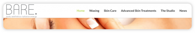 A navigation bar from Bare Studio's website, listing Home, Waxing, Skin Care, Advanced Skin Treatments, The Studio, and News