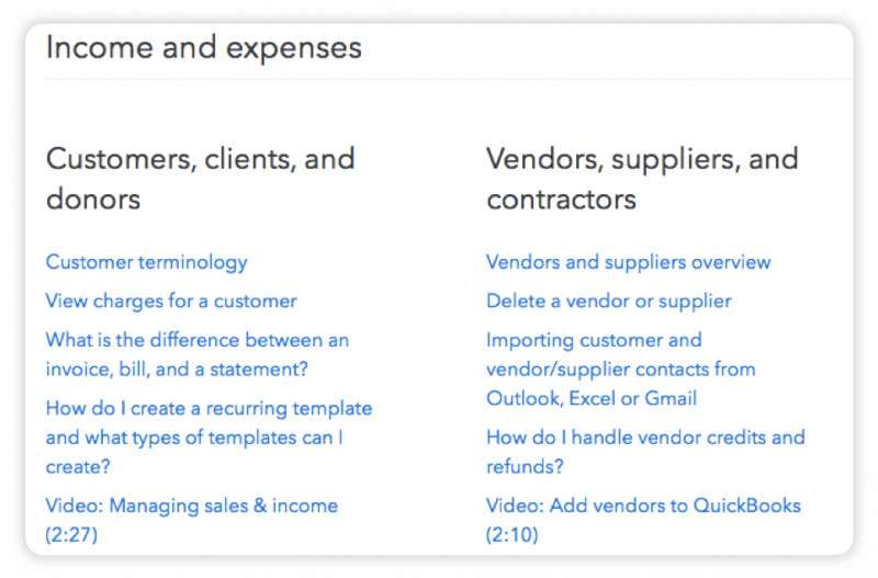 "A menu from the QuickBooks website, with liks to support articles sorted into two columns: ""Customers, clients, and donors"" and ""Vendors, suppliers, and contractors."""