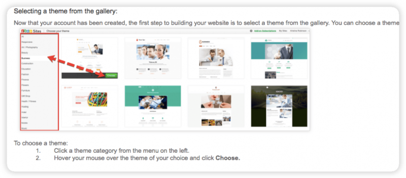 A screenshot from a Zoho Sites support page on how to choose a theme.