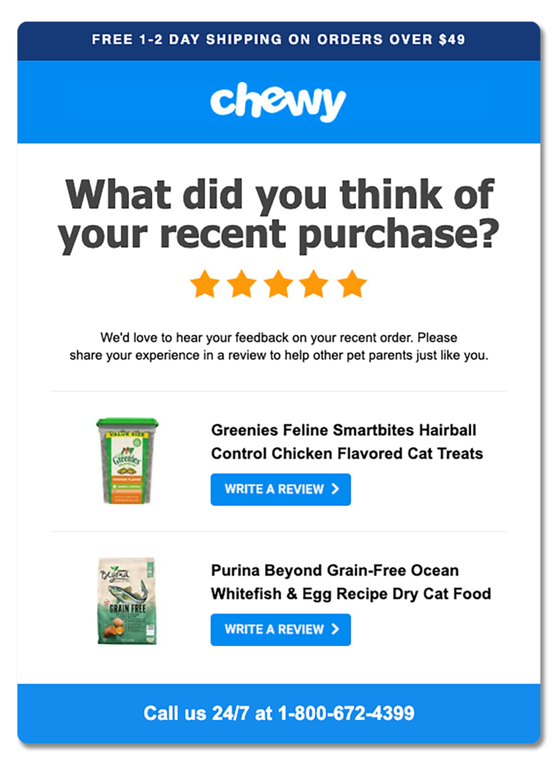 Post-purchase follow-up email from Chewy asking for product reviews