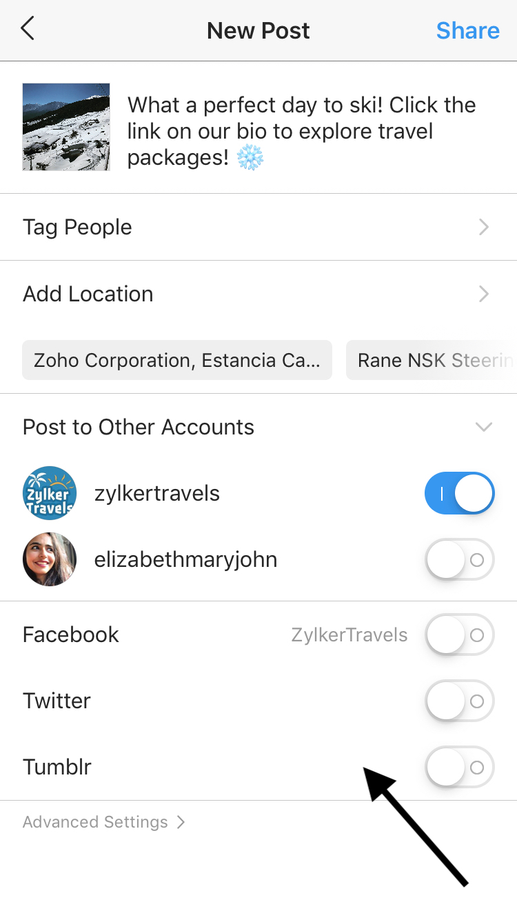 Screenshot of Instagram posting interface, showing ability to post on multiple accounts/social media sites at once
