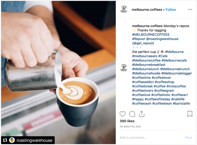 Example Instagram image showing what a reposted image looks like