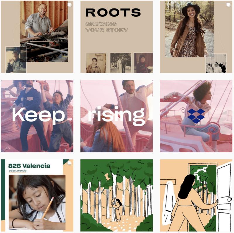 Screenshot of Dropbox's Instagram profile