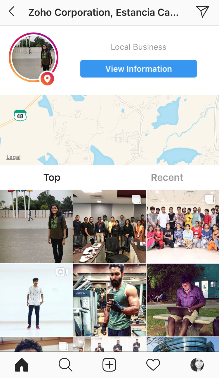 Screenshot showing the location tagging interface for Instagram