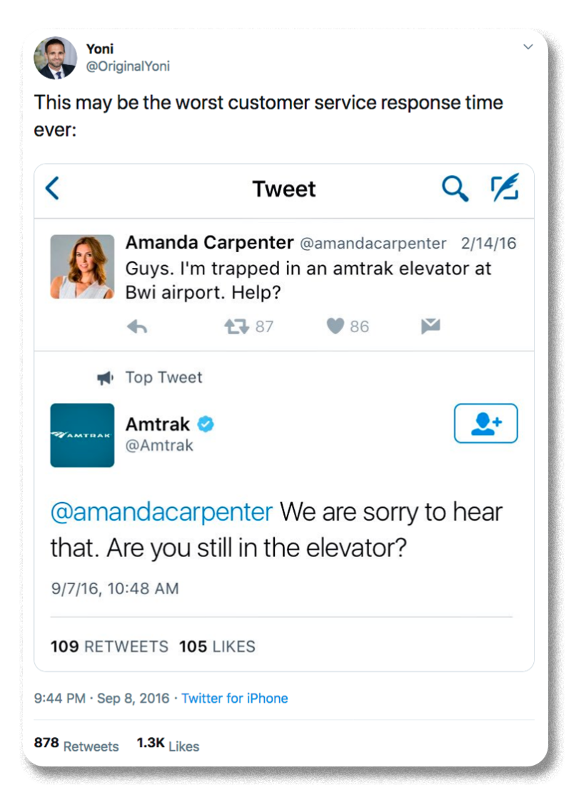 Screenshot of the Amtrak Twitter account responding to a customer seven months after they tweeted they were stuck in an elevator