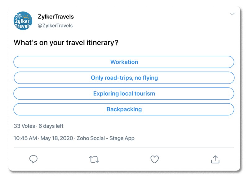 Example Twitter poll, showing a travel brand asking followers what's on their travel itinerary