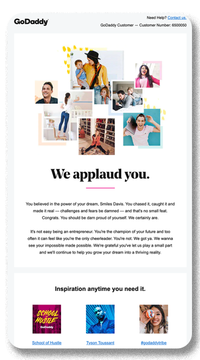 Screenshot of a customer appreciation email campaign from GoDaddy